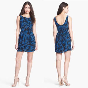 BB Dakota Blue Black Ikat Print Sheath Dress